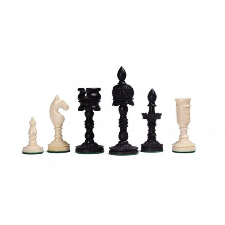 Temple Carved Bone Chess Pieces