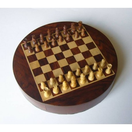 Palisander Round Magnetic Chess 23cm