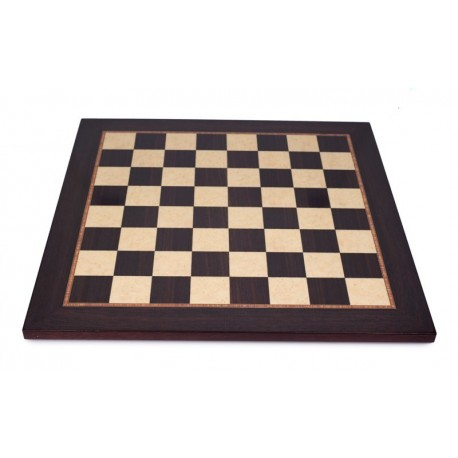 Satin rosewood-maple chessboard (boxes 55 mm)