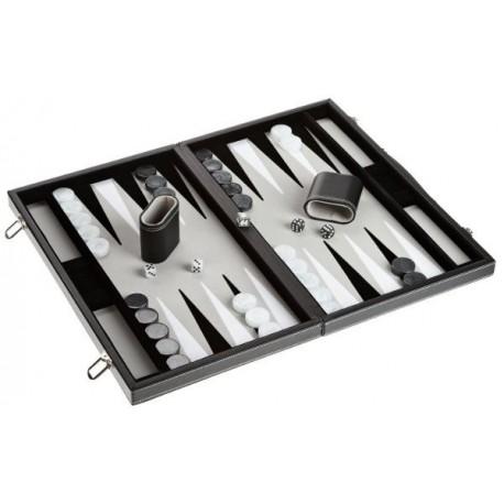 Backgammon imitation black leather interior grey, large model