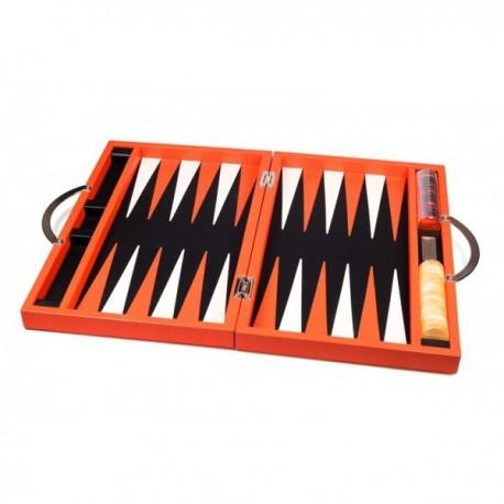 Backgammon Deluxe cuero naranja